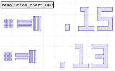 OPC'd Resolution Chart Layout schematic