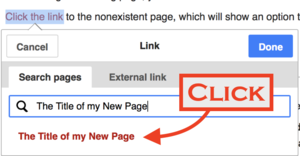 Screenshot showing Hyperlink panel to nonexisting page - Showing Arrow to CLICK on RedLink