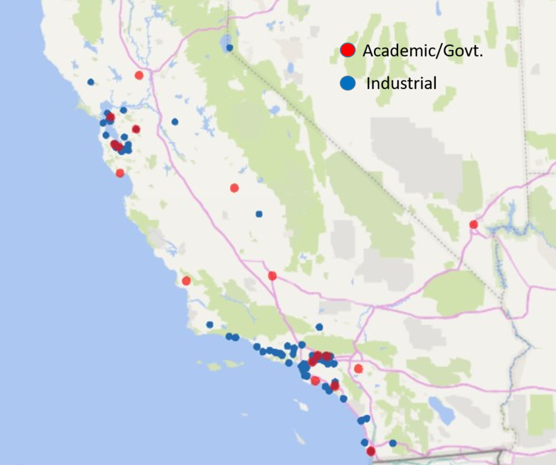 CA Map of external institutions served by UCSB Nanotech 2006-2018