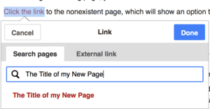 Screenshot of hyperlink panel, Creating a hyperlink to a nonexisting page.
