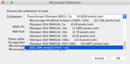 Screenshot of Drop-Down list of calibrations for UCSB microscopes.